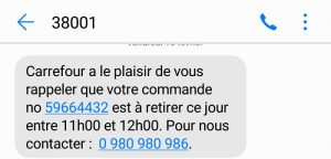 campagne sms example carrefour
