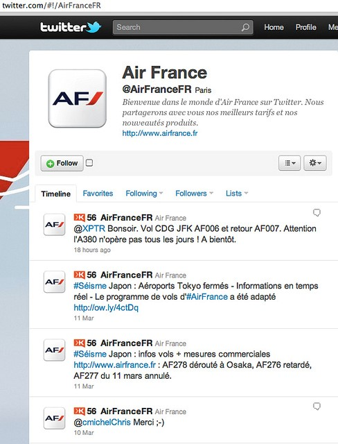 exemple page twitter air france