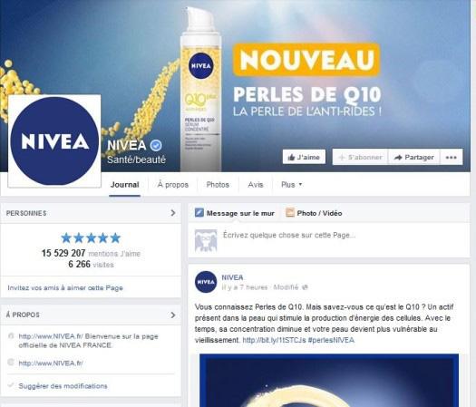 Exemple de page Facebook Nivéa